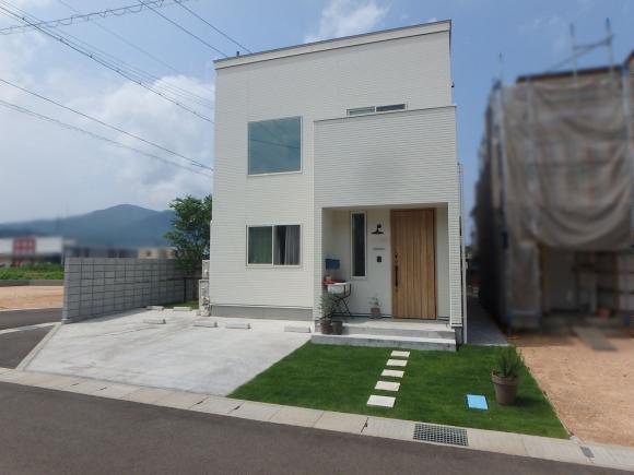 天然芝の緑と、建物の白が素敵です。